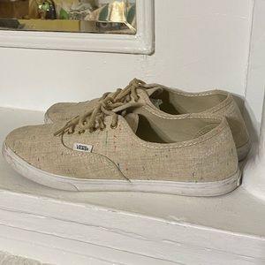 Vans Authentic Lo Pro Speckle Linen Tan Sneakers.